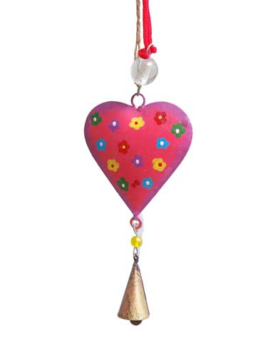 Hand Painted Hanging Heart with Bell Decoration