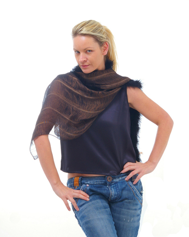 Three layer scarf with feather trim