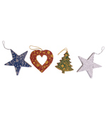 Limited Edition Handmade Recycled Paper Christmas Decoration set of 3